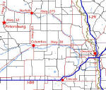 Link to enlarged view of Directions to Petersburg, NE